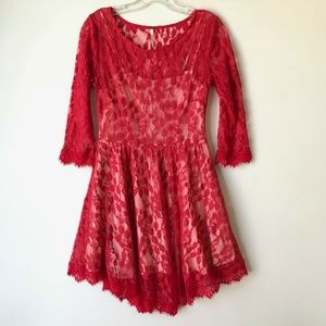 Free People Lace Mini 3/4 Sleeve Dress Red #821